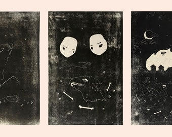 "November Series (Set of 3 12"" x 18"" Linocut Prints)"