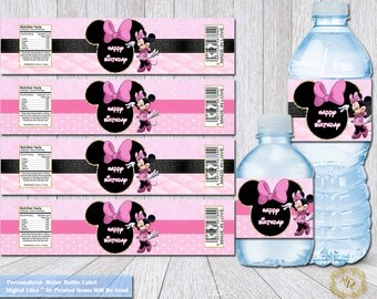 Minnie Mouse Labels.Minnie Mouse Water Bottle Label.Birthday Labels.Minnie labels. Minnie Party. Minnie Party Printable.Pink Party Supplies.
