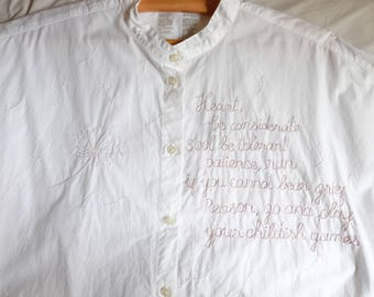 Hand embroidered white shirt tunic