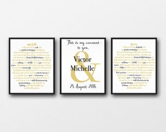 Custom wedding vow prints 16x20: 3 print set ANNIVERSARY GIFT