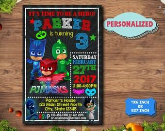 Pj Masks Invitation / Pj Masks Birthday / Pj Masks Party / Pj Masks Invitations / Pj Masks Printable Invitations / Pj Masks Birthday Invite