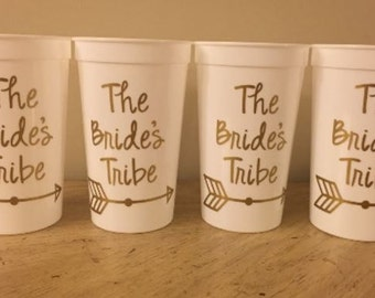 Personalized Cups, Plastic Tumblers, Bachelorette Weekend, Bridesmaids, set of 4