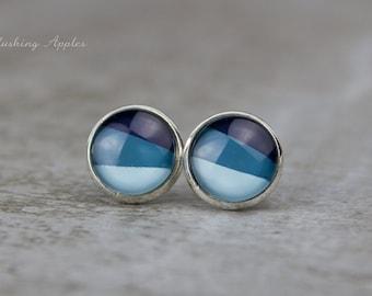 Dip Dye Earrings - Blue Jeans - 12 mm - hand painted earrings - minimalistic, everyday jewelry