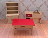Vintage 1950s Early Barton Wooden Dolls House Kitchen Furniture  Sink Cupboard and Table