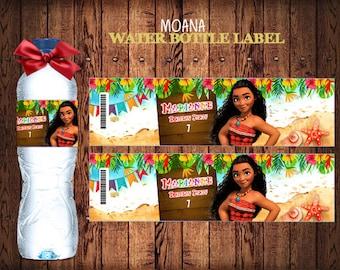 Moana Water Bottle Labels, Personalized Moana Labels,   Party Labels, Printable Supplies,  Party Supplies