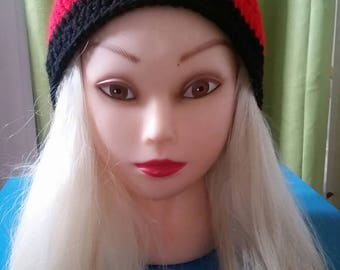 Large red and black crochet beanie/hat. Handmade