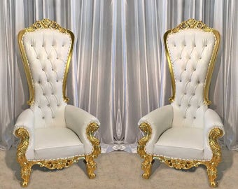 Two Throne Chair Package w/ Gold Trim
