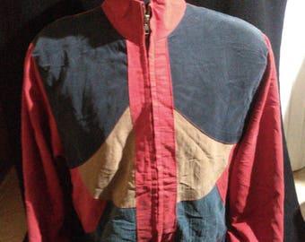 Vintage Silk Boomber Jacket Vintage Boomber Jacket Color Block