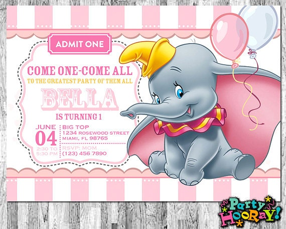 Dumbo Invitations For Girls Dumbo Birthday Invitation Dumbo