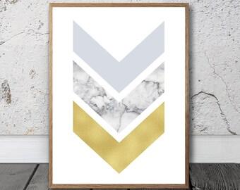 Marble Print - Chevron Wall Art - Gold Effect Print, Digital Print, Modern Wall Art, Marble Stone Print, Geometric Print, Large Poster