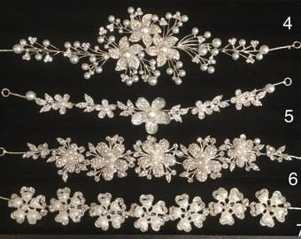 Wedding hairpiece, bride headpiece, rhinestones elastic, pearl, flower