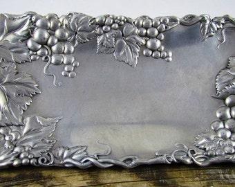 Vintage Aurthur Court Bread Tray Grapes Cast Aluminum Serving Platter