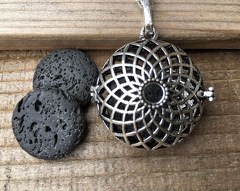 Sunflower Double Sided Locket // Lava Stone Essential Oil Necklace // Aromatherapy Necklace//With a Choice of Essential Oil (12 Variety)