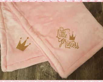 Little Princess Logo'd Baby Girl Blanket, Logo'd On 2 Ends....Perfect Coming Home Blanket or Shower Gift (See Matching Baby Gown)
