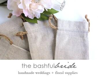 12 burlap bags, natural linen, 5 sizes available, drawstring bag, party favor, favor bag, gift bag,  jute pull,  rustic wedding, reception