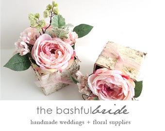 Wedding centerpiece, peach pink roses, birch box pink roses, gray lamb's ear, peach pink ribbon rustic wedding, peach wedding