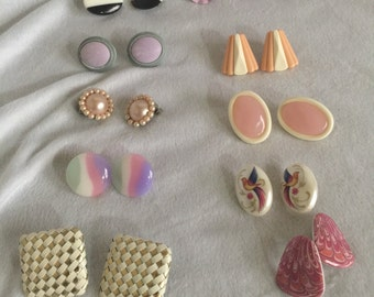 Vintage earrings s from the 60s and 70s 9 pairs