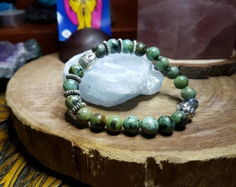 African Turquoise 8mm Crystal Bead Buddha Head Bracelet