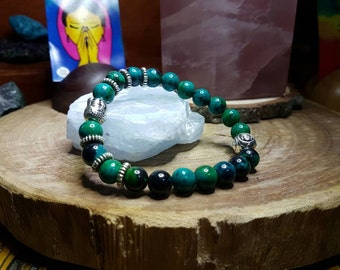 Chrysocolla 8mm Crystal Bead Buddha Head Bracelet