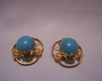 Turquoise Stone and Gold Tone Clip-On Earrings Signed Austria