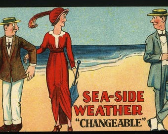 POSTCARDS - Sea-Side Weather - Comic - Four Cards in this sale - c1915