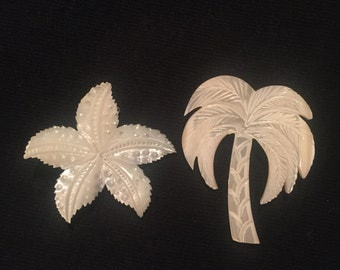Mother of Pearl Star Fish and Palm Tree Brooch