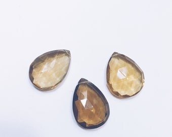 Large Whiskey Quartz Faceted Pear shaped Teardrop Briolette Beads - Set of three
