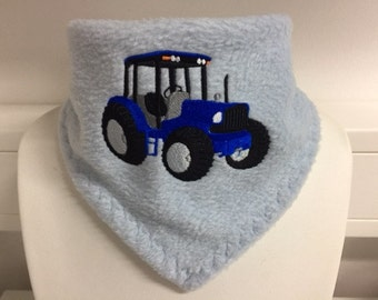 Fleece scarf for kids with embroidery motif tractor (#95) and on request with name