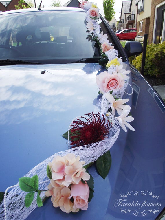 Wedding car decoration artificial flowers garland white ivory like this item junglespirit Image collections