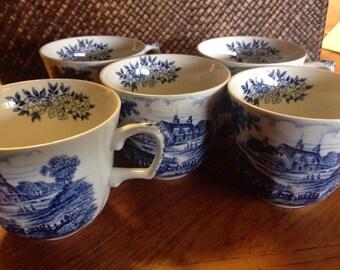 Meadowsweet tea cups, made in England. Set of 5.