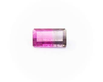 Genuine Bi-Color Tourmaline 0.39ct Octagon Cut 6.2.mm x 3.5mm TR85