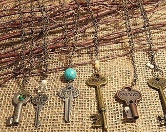 Handmade Jewelry, Necklaces, Key Necklaces, Key, Stamped, Inspirational