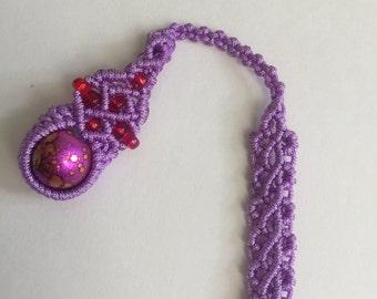 handmade finished gourd pattern pendant  bookmark purple