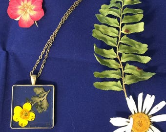 Real Buttercup in resin, Flower Pendant Necklace