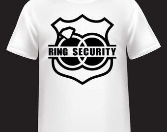 """Boys """"Ring Security"""" Ring Bearer Bridal Wedding Kids Shirt"""