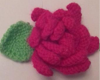 Knitted Floribunda Rose Shocking Pink Flower Leaf Light Green