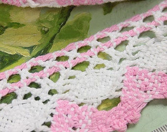Pink and White Vintage Cotton Crochet Trim by the metre