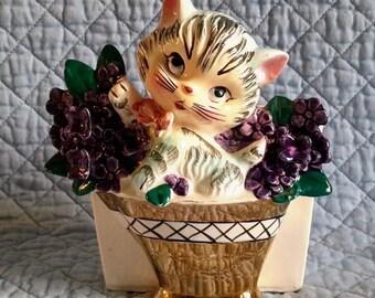 Ceramic Wall Pocket or Planter, Kitten in Flower Basket, Japan. c.1950.
