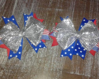 4th of July pigtail bows