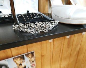 Tiara for wedding, silver and Swarovski