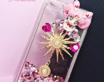 DIY Sailor Chibi Moon, Sailormoon phone case, Quicksand Liquid Phone case phone case custom,cute phone case for iPhone6 6Plus 6s Plus7 7Plus