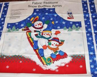 Christmas Apron Panel, Fabric Traditions Snow Buddies Apron, Snowman Apron