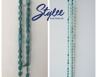 Turquoise Beads Long Necklace
