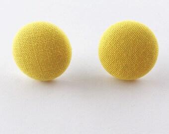 Handmade Sunny Yellow Fabric Button Earrings