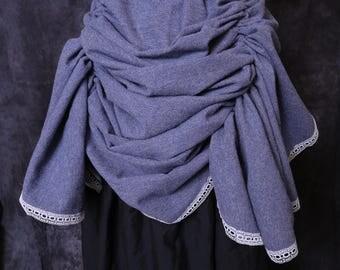 Faux blue/grey wool bustle