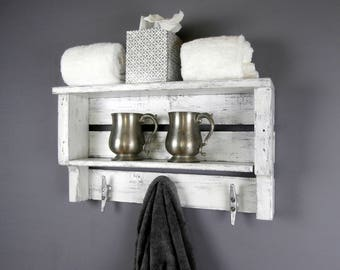 White Rustic Decor Shelf – Coastal Chunky Bathroom Shelves – Rolled Towel Rack With Boat Cleats – Wall Mounted Bathroom Shelves With Hooks