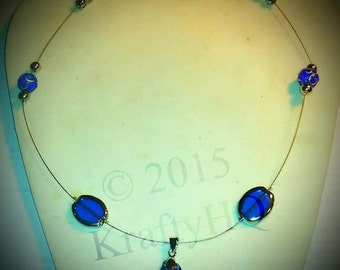 Blue and Silver Necklace- Blue Pendant- Blue Glass Necklace