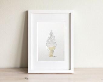 Illustration cornet, ice cream cone illustration / fait main, handmade