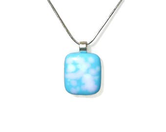 Light blue fused glass pendant with pink & white dots