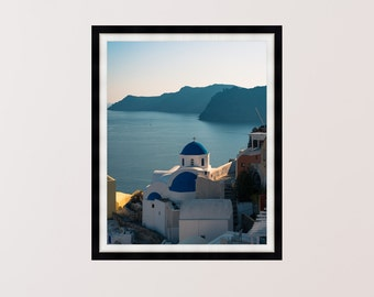 The Blue Domes of Santorini, Greece, Photography Print, Wall Art, Home Decor - Multiple Sizes Available